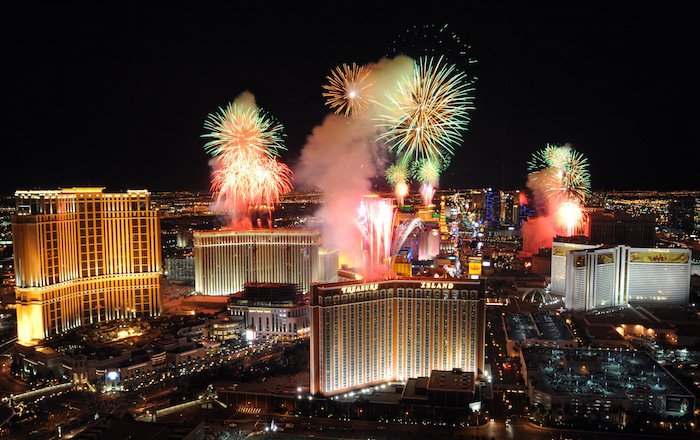 Las Vegas at Night with Fireworks