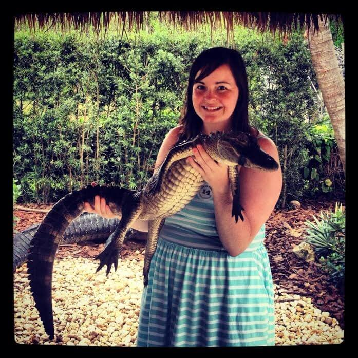 Kathleen get hands on experience with alligators